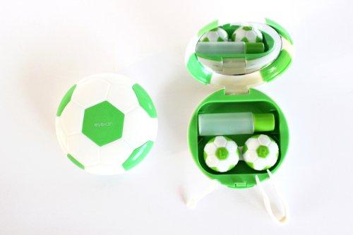 Kontaktlinsenbehälter Aufbewahrungsbehälter Etui Set Spiegel Motiv Fußball Grün NEU