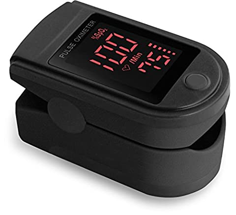 Zacurate® Pro Series CMS 500DL Fingertip Pulse Oximeter Blood Oxygen Saturation Monitor with silicone cover, batteries and lanyard (Mystic Black)