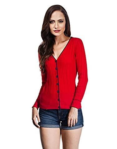 Vincenzo Boretti Woman's Cardigan with striped texture and decent colour contrast,red,Small