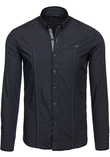 BOLF - Chemise casual – manches longues – RAW LUCCI 8031 - Homme Noir