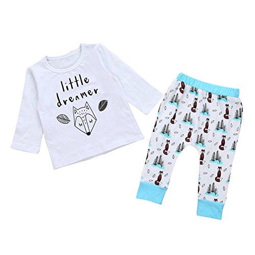 Bestanx Kind Baby Jungen Mädchen Set Kleidung Eichhörnchen Langarm Shirt Tops+ Hosen Outfit Baby Bekleidungset(0 -24 Monate)