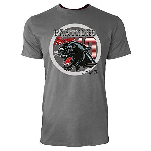 Sinus Art ® Herren T Shirt Panthers Team 10 ( Charcoal ) Crewneck Tee with Frontartwork (Panther Crewneck)