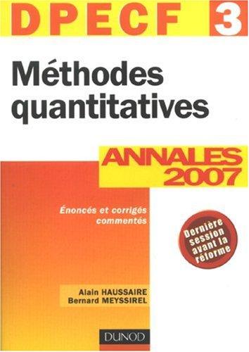 Méthodes quantitatives : Annales DPECF 3 Corrigés commentés