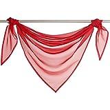 Querbehang Deko Gardinen aus transparentem Voile Triangle Schals L*B 200*100cm Rot