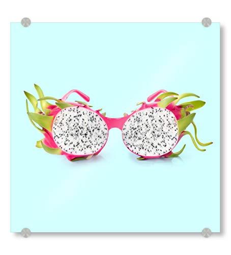 artboxONE Acrylglasbild 50x50 cm Fashion Dragon Sunglasses Bild hinter Acrylglas - Bild Sunglasses Summer Fruit