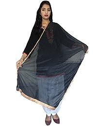 SUNRISE Women's Crape And Plain Net Dupatta (Black)