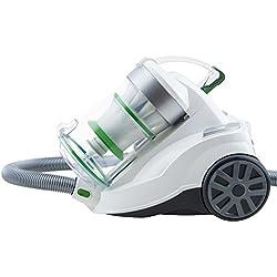 H.Koenig Aspirateur sans sac multicyclonique traineau AXO900, classe énergétique AAA, blanc, Silencieux, Puissant, Efficace, pour tapis et sols durs, inclus brosse poussière et suceur plat