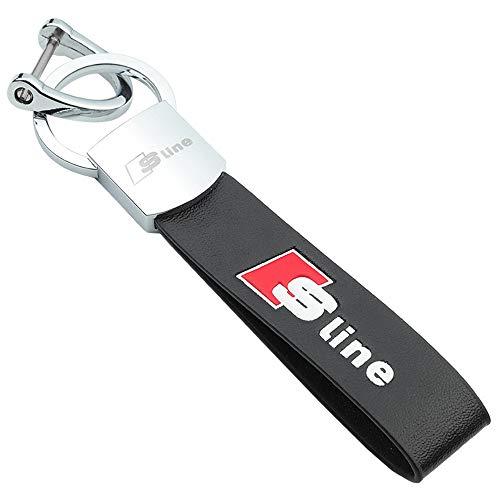 BOLLAER S-Line Schlüsselanhänger Auto Schlüsselanhänger S-Line Emblem Metalllegierung und Leder Fashion Schlüsselanhänger für Audi Autoschlüssel, Mann und Frau - Emblem Aus Leder