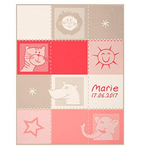 Wolimbo Babydecke mit Ihrem Wunsch-Namen und Motiv - Tiere rot-beige - Baumwolle Acryl - 75x100 cm für Mädchen und Jungen