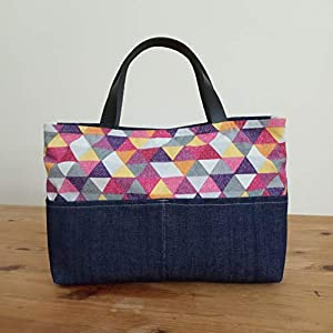 ¡¡Verkauf!! – SchulterTasche – Umhängetasche – Dreiecke Mini, handgefertigt in Denim, Baumwolle und Leinen, mit Lederriemen