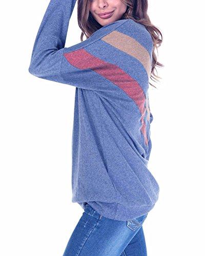 BONESUN Damen Langarm T-Shirt Rundhals Bluse Oberteil Tops Langarmshirt Marine