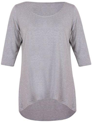 Damen Schlicht 3/4 Dreiviertelärmel Damen Rund U-ausschnitt Stretch Meerjungfrau-linie Fallender Saum T-Shirt Top Übergröße Hellgrau