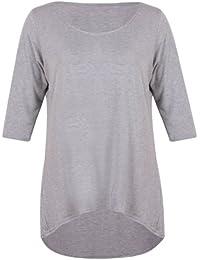 Damen Schlicht 3/4 Dreiviertelärmel Damen Rund U-ausschnitt Stretch Meerjungfrau-linie Fallender Saum T-Shirt Top Übergröße
