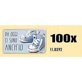 100 PZ Bigliettini bigliettino bomboniera celeste NASCITA bambino DA OGG