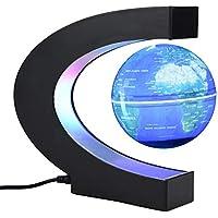 Garosa Globo Flotante Levitación Magnética Lámpara de Escritorio Luces LED c Forma Mapamundi Educativo para Niños Adultos Decoración del Escritorio de La Oficina En El Hogar(EU Azul)