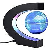 Floating Globus Magnetisch mit LED Leuchten C Form Levitation Kugel Pädagogisch Weltkarte für Kinder Erwachsene Geschenk Büro Dekoration(Blau)