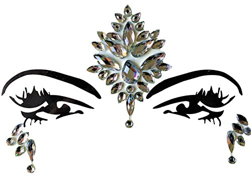 Gesicht und Körper Juwelen Edelstein Aufkleber Glitter MAKE-UP für Party Festival Shows und Bühnenauftritte BFG1802 Klare Steinchen (Körper Juwel Kleben)