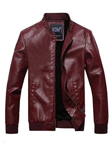 Vogstyle Uomo Giacchetta Attillata Basic Biker In Pelle Stile-6 Rosso L