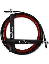 Springseil Speed Rope II von BeMaxx Fitness + Trainingsguide & Ersatzkabel | Super dünnes & leichtes verstellbares Stahlseil + Kugellager | Crossfit, Profi Sport, Boxen, Training | Erwachsene & Kinder