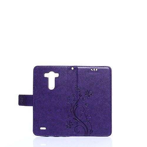 Cover Protettiva LG G3, Alfort 2 in 1 Custodia in Pelle Verniciata Goffrata Farfalle e Fiori Alta qualità Cuoio Flip Stand Case per la Custodia LG G3 Ci sono Funzioni di Supporto e Portafoglio Chiusur Porpora