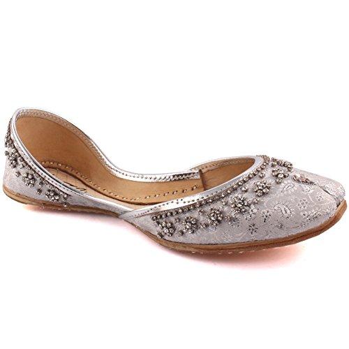 Unze Signore delle donne tradizionale MALLA rilievo indiano casual scarpe di cuoio piatto Khussa Pantofole FORMATO BRITANNICO 3-8 Argento