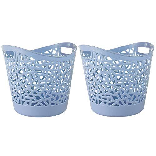 Jo332Bertram 2er Multifunktionale Wäschekörbe Schmutzige Kleidung Wäschekorb Household Rund Wäschebox Plastik Kinder Spielzeug Organizer - Blau
