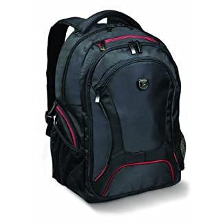 41lkv6owJ9L. SS324  - PORT DESIGNS COURCHEVEL Mochila para Laptop de 14/15,6 '' y Tableta de 10.1 '', Negro-Rojo
