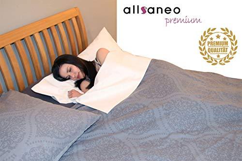 allsaneo Premium Allergiker Schlafsack 100x220 cm extra leicht und weich, ungefüttert, Hüttenschlafsack Reiseschlafsack