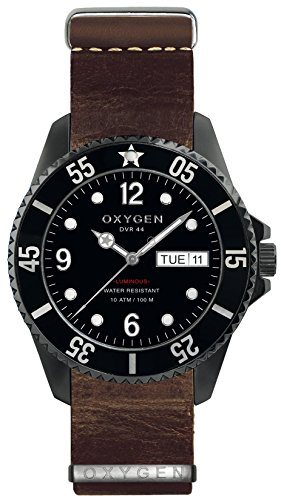 Oxygen Moby Dick Black 44 Mens Quartz Watch with Black Dial Analogue Display and Brown Leather Strap EX-D-MBB-44-NL-DB