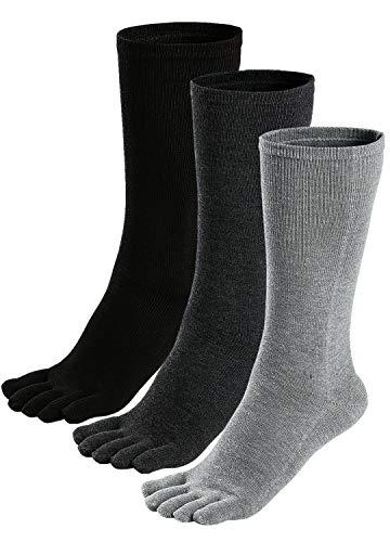 PUTUO Calcetines con Cinco Dedos Hombres Calcetines de Deportes de Algodón, EU39-45, 3 pares