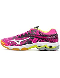 Womens Wave Lightning Z4 WOS Volleyball Shoes, Rose/Gris/Blanc Mizuno