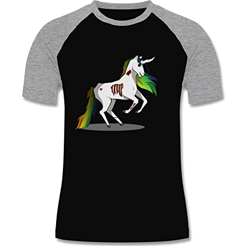 Comic Shirts - Zombie Einhorn - zweifarbiges Baseballshirt für Männer Schwarz/Grau Meliert