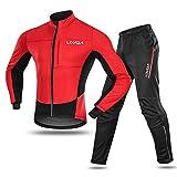 Lixada Maillot de Cyclisme Set Hiver Long Manches Thermique Polaire Coupe-Vent Cyclisme Jersey Manteau Veste avec