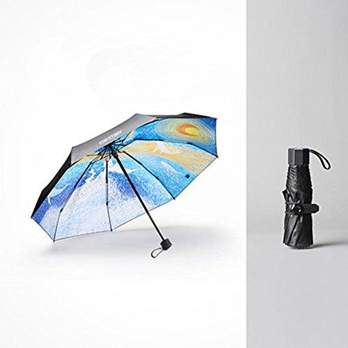 Traditionellen Stil Vinyl (GBT Vinyl-Regenschirm Uv-Schutz Halb Sonnig Kreativen Sonnenschirm Sonnigen Regenschirm Mode Sonnencreme Schwarzen Regenschirm , B,B)
