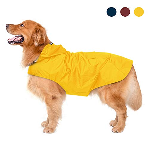 Yellow Adjustable Dog Raincoat with Hood,Collar Hole, Snack Pocket, Medium to Large Dog, Yellow
