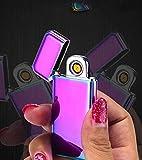 ZSAIMD Briquet électrique Rechargeable USB Coupe-vent coupe-vent mince Design Extrêmement léger Ultra léger et silencieux Portable Capteur d'empreintes digitales intelligent Outil d'allumage Parfait p