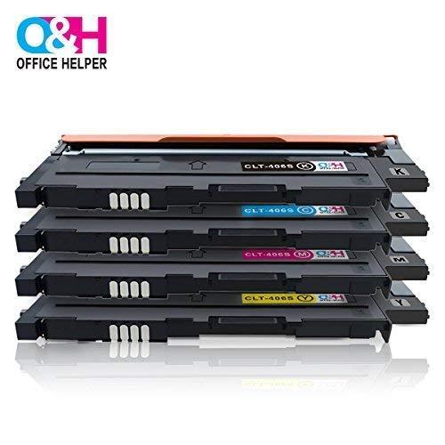 OFFICE HELPER - CLT-P406C Cartucce di Toner, Compatibile per Samsung Printer Xpress CLP-360 CLP-360N CLP-365 CLP-365W CLP-368 CLX-3300