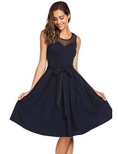 Parabler Damen elegantes Sommerkleid Ärmellos Skaterkleid A-Linie Spitzenkleid Festliches Partykleid Abendkleid knielang kleider mit Gürtel