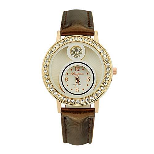 LABIUO Damenuhren, Mode Luxus Analog Quarz Edelstahl Uhr Kristall Strass Dial Leder Armbanduhr(Braun,Einheitsgröße)