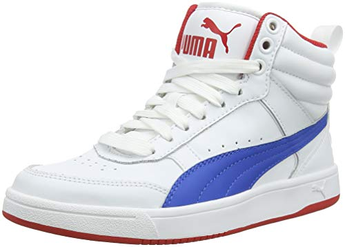 Puma Unisex-Kinder Rebound Street V2 L JR Hohe Sneaker, Weiß White-Strong Blue-Ribbon Red 07, 39 EU - Puma Kinder Basketball-schuhe