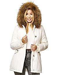 elara damen winterparka jacke echt fell mantel weiß
