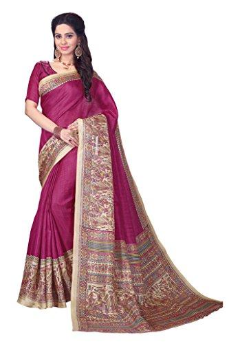 Applecreation Women's Khadi Silk Saree (Pink & Beige, 4MDB8724B)  available at amazon for Rs.729