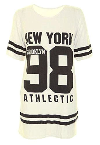 Janisramone Damen Baseball Brooklyn New York 98 Übergröße Baggy T Shirt Spitze Kleid Cremefarben