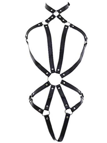 Shawa Damen Body-Harness PU Leder Unterwäsche Harness Geschirre mit Bikini Einstellbar Körper Riemen SM Bondage Fesseln Erotik Sklaven Nachtclub Erwachsen Schwarz Bodysuit