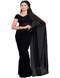 Fashion And Hub Women's Georgette Saree With Blouse Piece (Fah_Plain Black)