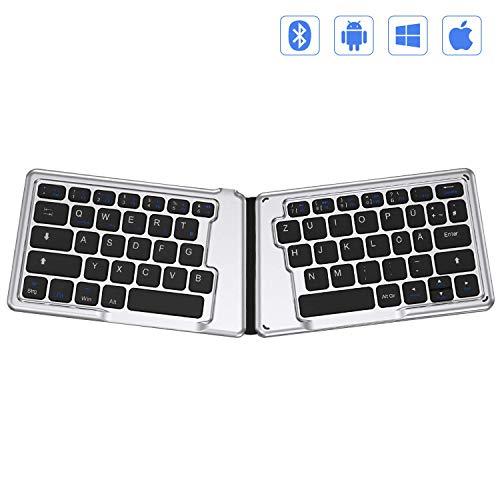 Jelly Comb Bluetooth Tastatur faltbar, Wiederaufladbar Bluetooth Keyboard -Deutsches QWERTZ Layout- Ergonomische Funktastatur für Tablet, PC, Handy(Schwarz und Silber)