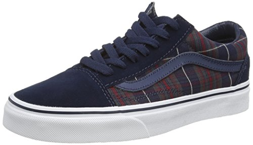 Vans Classic Mens Old Skool Textile Trainers, Bleu (Plaid - Dress Blues), 44