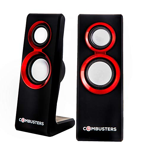Combusters USB Design Lautsprecher Box Boxen Pc Tower Computer Laptop Notebook schwarz rot Speaker System 2.0 extern