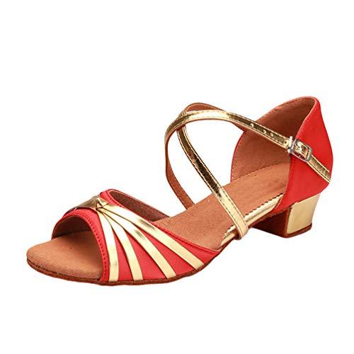LaoZan Scarpe di Tango Danza Donna Mode Scarpe Ballare Standard Salsa Latino Sandali Sportivi Ragazza (Orange, Taglia 32)