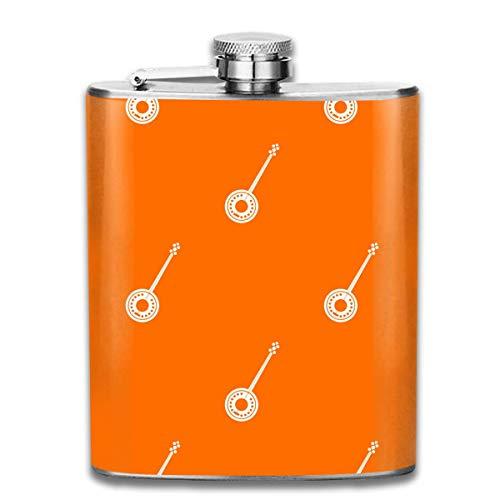 7OZ Edelstahlflasche, lustige Banjo Orange Muster Schnapsflasche, Flaschen für Herren und Damen
